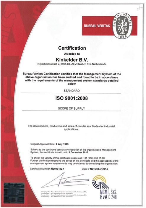 Kinkelder ISO 9001 Certificate